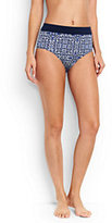 Lands' End Women's High Waist Bikini Bottoms Control-Deep Sea Mixed Medallion