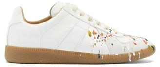 Maison Margiela Replica Paint-splattered Leather Trainers - White Multi