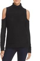 Aqua Turtleneck Cold Shoulder Sweater