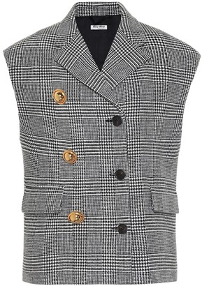 Miu Miu Checked wool and cashmere vest