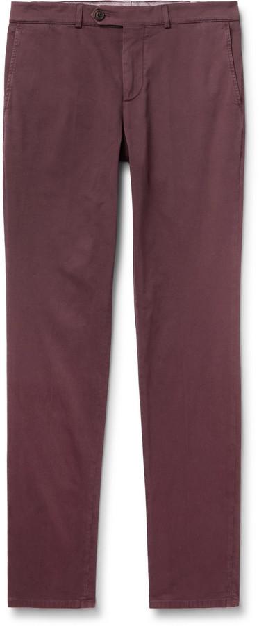 Brunello Cucinelli Slim-Fit Cotton-Blend Twill Trousers