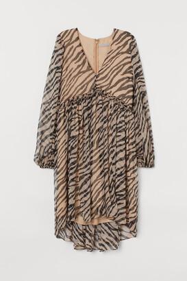H&M V-neck Chiffon Dress - Beige