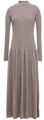 Agnona Flared Ribbed Melange Cashmere Midi Dress