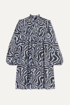 Ganni Pintucked Tiger-print Cotton-poplin Mini Dress - Blue
