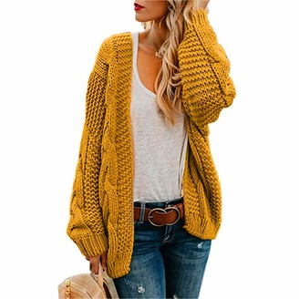 LASPERAL Womens Open Front Long Sleeve Chunky Knit Cardigan Sweater S-XL Yellow