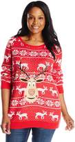 Isabella's Closet Women's Plus-Size Sequin Rudolph On Fair Isle Ugly Christmas Sweater