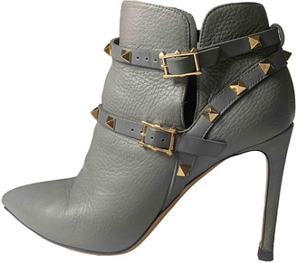 Valentino Rockstud Turquoise Leather Ankle boots