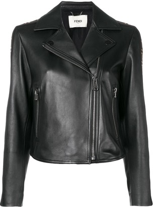 Fendi FF logo band leather jacket