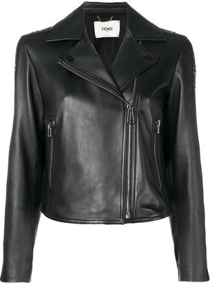 Fendi FF motif-band biker jacket