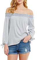 Jessica Simpson Marlena Off-The-Shoulder Striped Tie Sleeve Top
