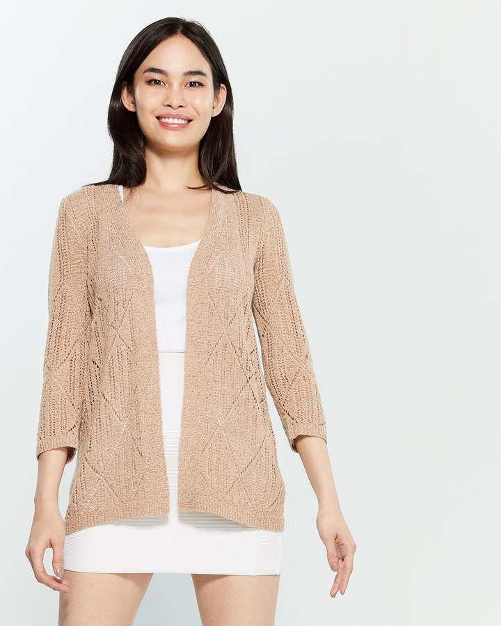52bb123a7df Pointelle Open Front Cardigan - ShopStyle