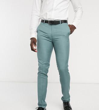 Topman Big & Tall skinny suit pants in sage