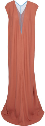 Rick Owens Double V Dagger Tulle-paneled Crepe Maxi Dress