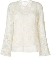 See by Chloe 'Pleated lace V-Neck' Bell Sleeve Blouse - women - Polyester/Viscose - 36