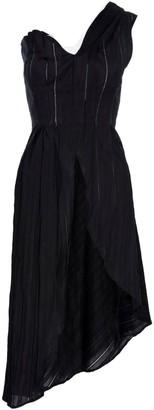 Lahive Billy Jean Black Cotton Long A Symmetrical Shirt