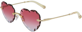 Chloé Rimless Heart-Shaped Scalloped Sunglasses