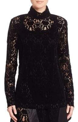Donna Karan Lace Turtleneck Top