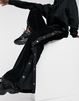 Love Moschino velvet popper side wide leg co-ord joggers in black