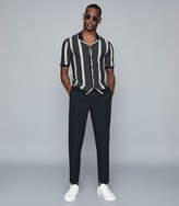 Reiss Bowen - Striped Linen-blend Cuban Collar Shirt in Navy