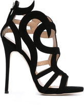 Giuseppe Zanotti Design swirl caged heel sandals - women - Leather/Suede - 37