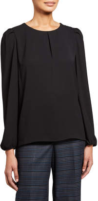 Anne Klein Inverted Pleat Long-Sleeve Blouse