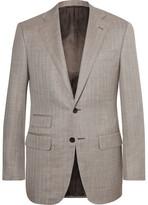 Thom Sweeney - Light-brown Slim-fit Herringbone Slub Wool, Silk And Linen-blend Blazer - Brown