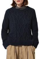 Toast Chunky Cable Knitted Jumper, Navy