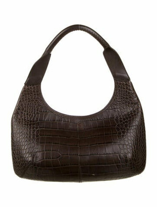 Salvatore Ferragamo Embossed Leather Hobo Brown