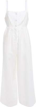Onia Alexis Cropped Gathered Linen-gauze Wide-leg Jumpsuit