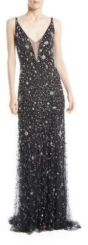 Jenny Packham Celeste V-Neck Sleeveless Beaded Tulle Column Evening Gown