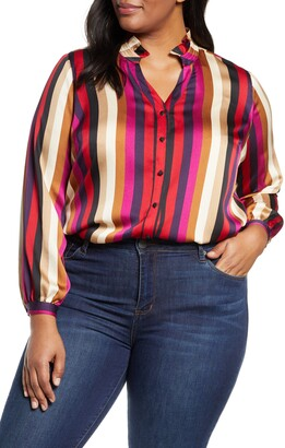 Vince Camuto Mayfair Stripe Ruffle Neck Satin Blouse