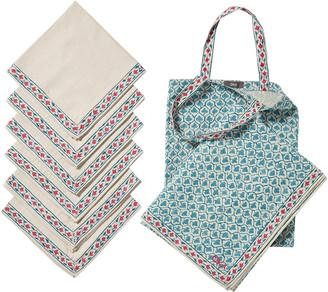 OKA Aswathi Tablecloth, Napkins & Tote Bag Set - Blue