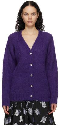 Erdem Purple Mohair Marcilly Cardigan