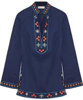 Tory Burch Tory Appliquéd Embellished Cotton Tunic - Navy