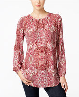 Charter Club Paisley-Print Keyhole Blouse, Only at Macy's