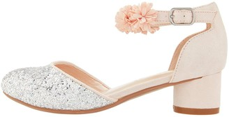 Monsoon Becky Glitter Corsage Shoes - Pale Pink