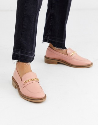 ASOS DESIGN Mixture leather chain loafers in peach