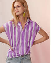 Express stripe collared popover blouse