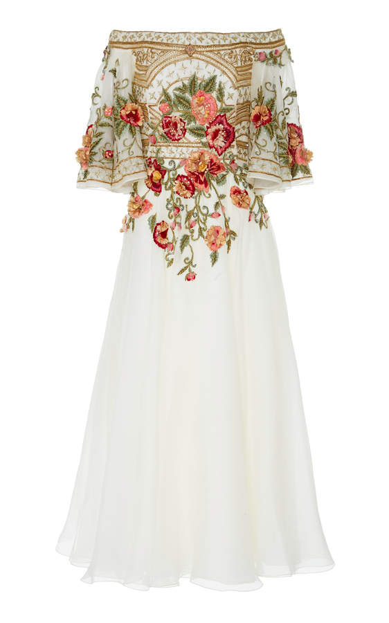 Marchesa Off-The Shoulder Embroidered Silk-Organza Dress