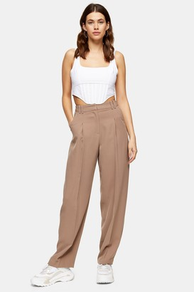 Topshop Womens Tall Mink Twill Slouch Tapered Trousers - Mink