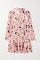 Thumbnail for your product : RED Valentino Tie-detailed Floral-print Velvet Mini Dress - Pink