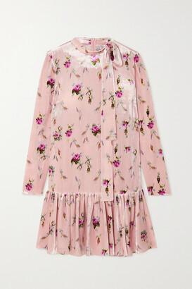 RED Valentino Tie-detailed Floral-print Velvet Mini Dress - Pink