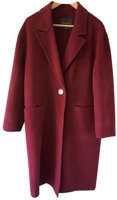 Massimo Dutti Burgundy Wool Coat for Women