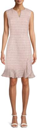 Anne Klein Tweed Ruffle Hem Sheath Dress