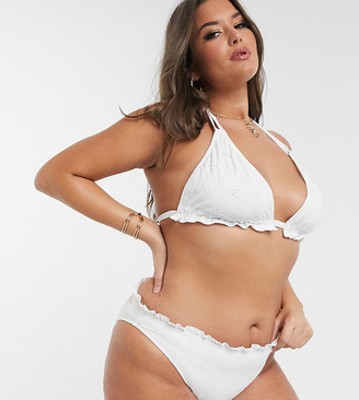 ASOS DESIGN curve mix and match broderie hipster bikini bottom in white