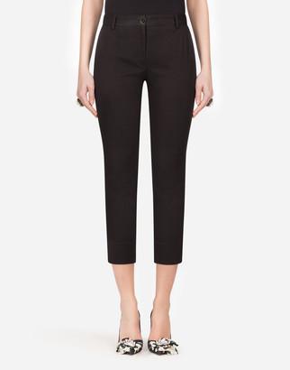 Dolce & Gabbana Low-Rise Cotton Fabric Pants