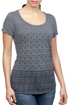 Lucky Brand Printed Cotton Curved-Hem Tee