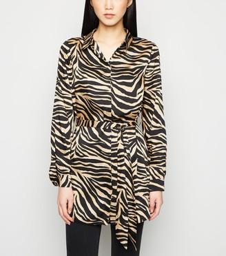 New Look Satin Tiger Print Tie Waist Shirt