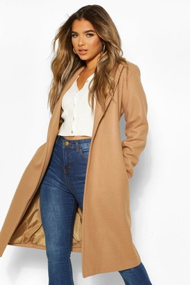 boohoo Petite Wool Look Turn Up Sleeve Edge to Edge Coat