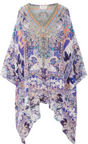 Camilla Embellished Printed Silk-crepe De Chine Kaftan - Purple